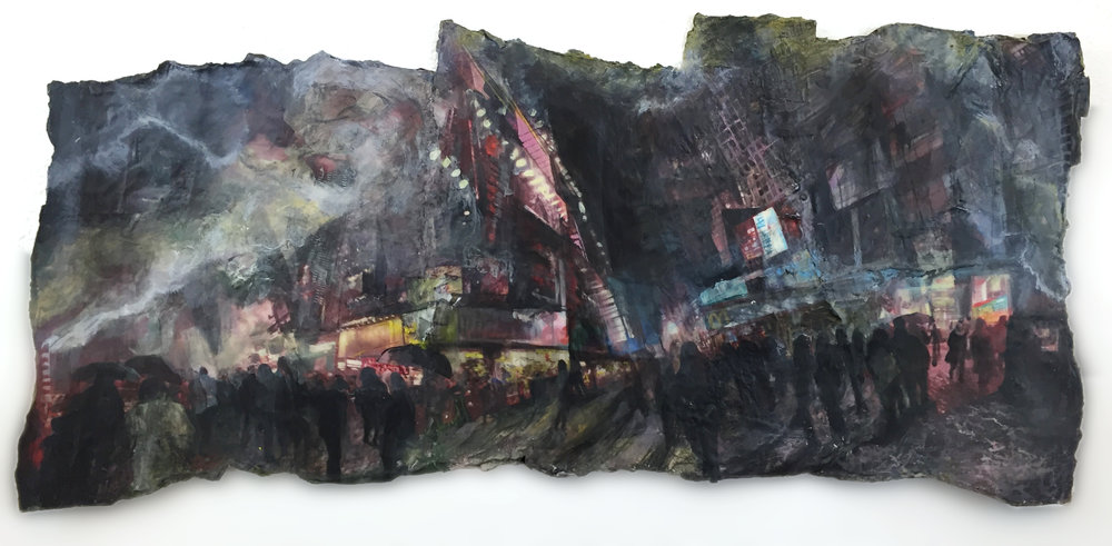 "Times Square II. Aprox. 16x30"", June 2015, encaustic, photo transfer, acrylic, pen  and ink"