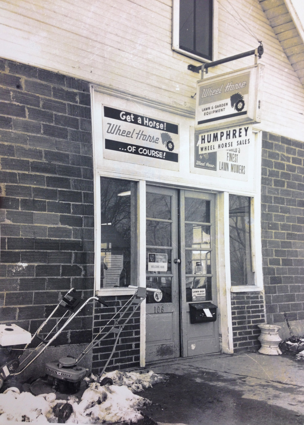 The store front at Humphreys' Wheel Horse Circa 1966