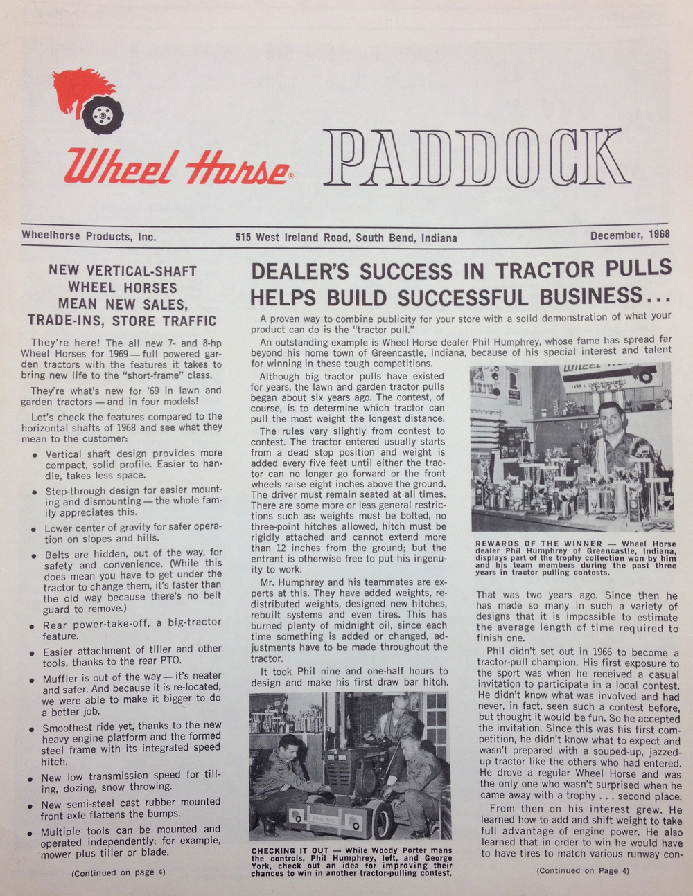 This was Humphreys' Wheel Horse featured article in Wheel Horse Paddock, the national Wheel Horse Dealer magazine at the time.