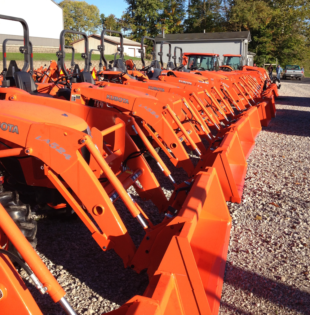 Humphreys' Outdoor Power's row of new Kubota Tractors
