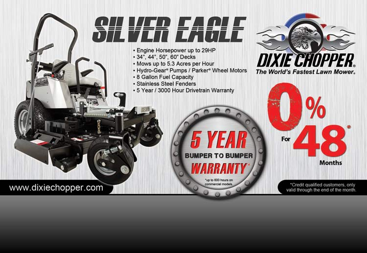 Dixie Chopper currently offers 0% Interest for 48 Months