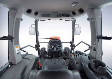 The view from the inside of a Kubota Factory Installed Cab