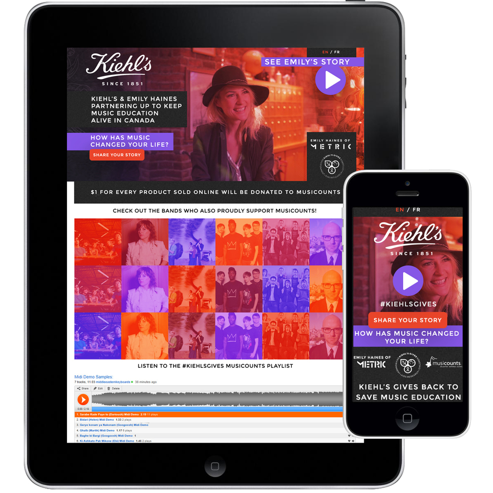 Microsite for Kiehl's Gives Canada in collaboration with Emily Haines of Metric