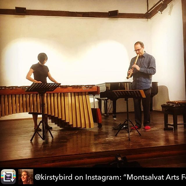 "Thanks to @kirstybird for the image - performance with @adam.simmons earlier today at @montsalvatartscentre - -  Repost from @kirstybird on Instagram: ""Montsalvat Arts Festival"" using @RepostRegramApp - Montsalvat Arts Festival #marimba #shakuhachi #montsalvat"