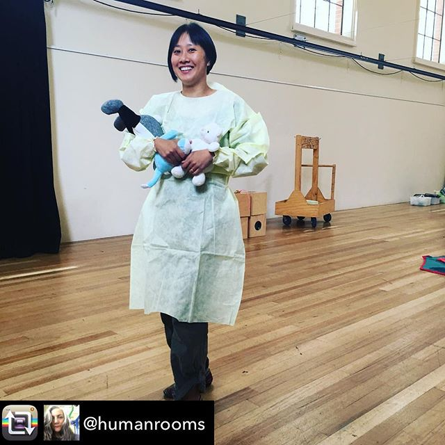 "Testing out the costume and bespoke baby toys made by @tomikeh_office for @artplaykids this week!  Project ""Oompah!"" by @humanrooms  All workshops booked out, sorry 😅 👶🏻👶🏿👶🏾👶🏼👶🏽 - - Repost from @humanrooms using @RepostRegramApp - Rehearsal for Oompah! @studiokacher and @tomikeh_office #new #show #toys #fun @artplaymelbourne #artplay #baby #art"