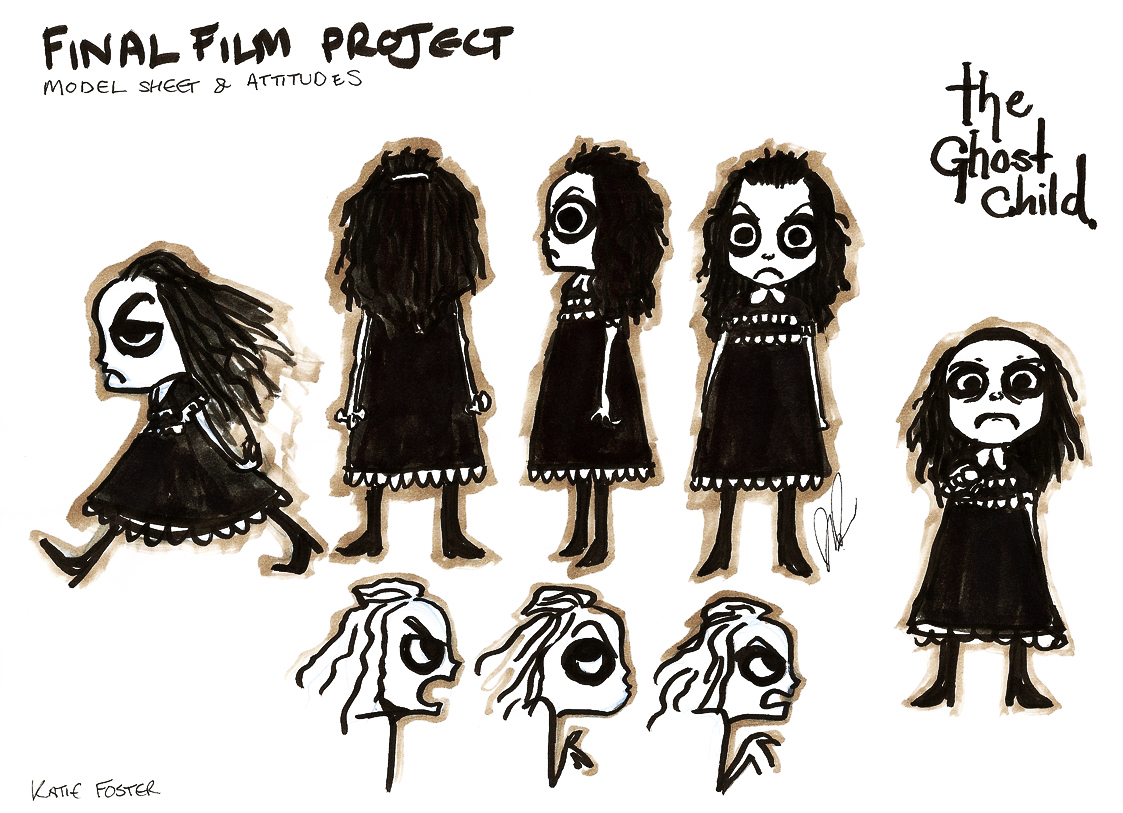 Character designs for the short film I created at Sheridan,  The Message . This is a secondary character; a ghost that haunts the protagonist's house.