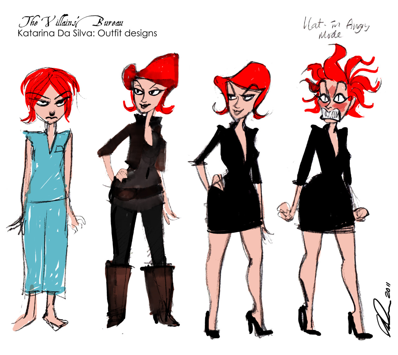 """Various outfit designs for Katarina Da Silva, a character in a project I am working on, tentatively titled the """"Villains' Bureau""""."""