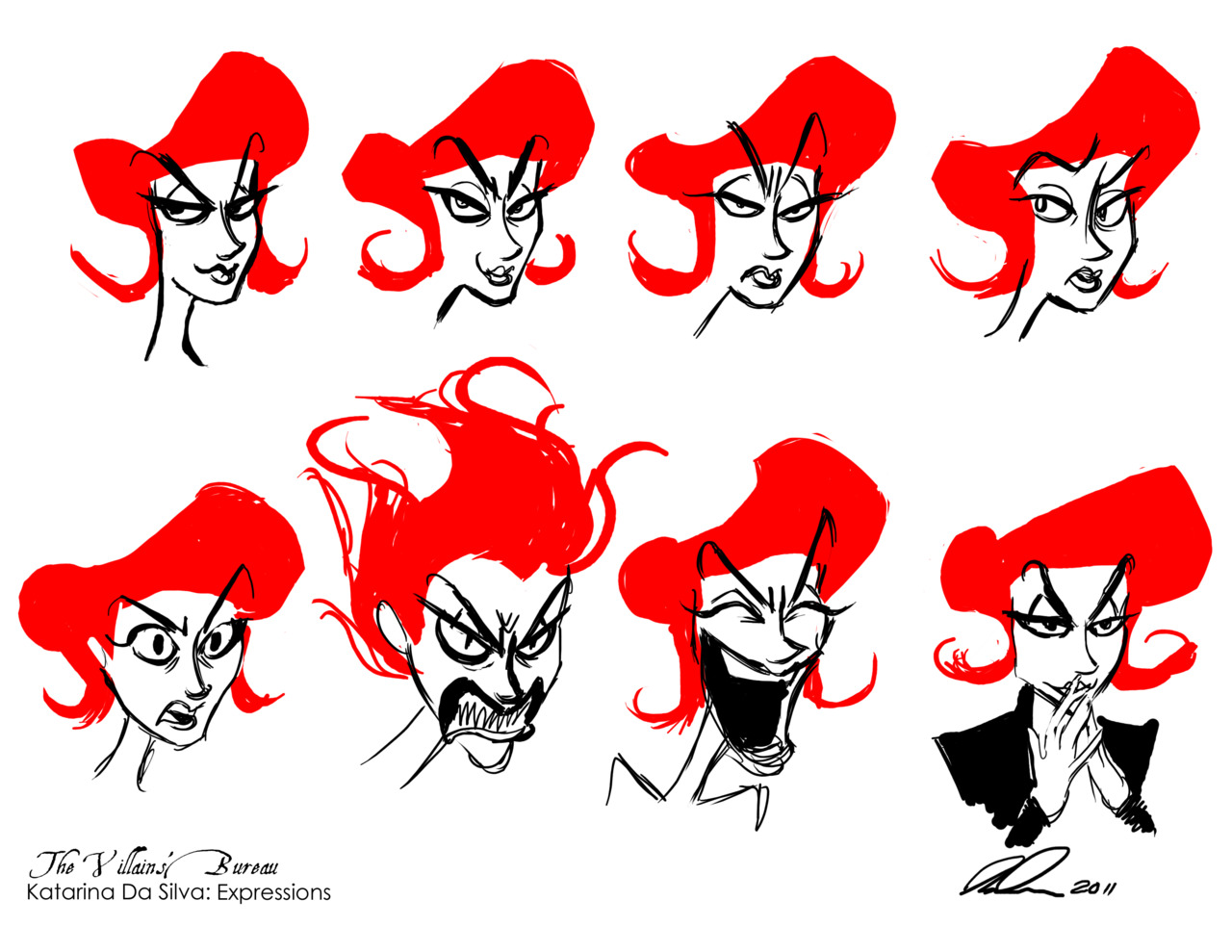 More of Katarina Da Silva, for my Villains' Bureau project. I'm trying to nail down her expressions here. This picture was inspired by  this  post by my immensely talented friend  NinaSerena .