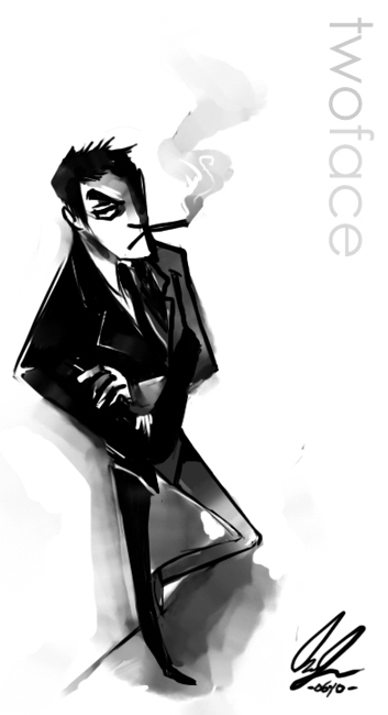 Two-Face, being all badass and LEANING and stuff.