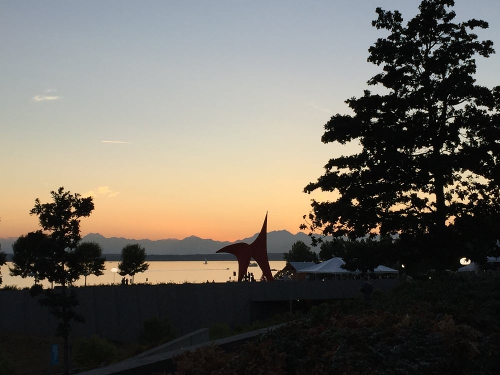 olympic sculpture park at sunset