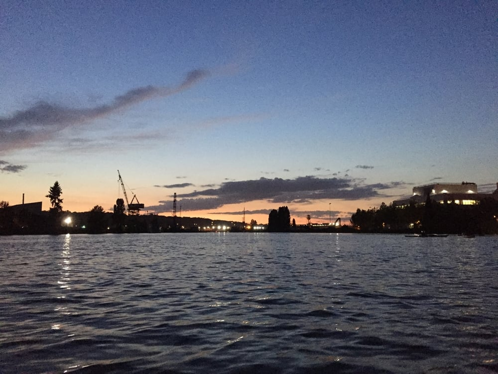 the duwamish river at sunset