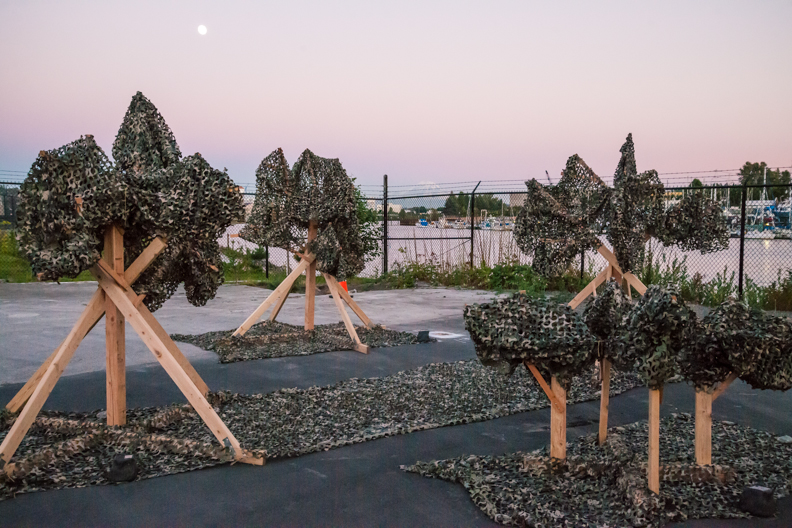 PLANT 2015 art installation at Boeing Plant 2 at sunset with a view of the South Park Marina. Photos by Tim McGuire courtesy Boeing Co.