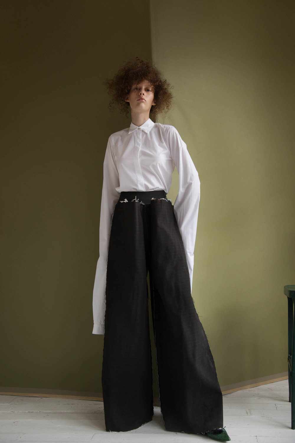 shirt  MM6 Maison Margiela, pants  Seokwoon Studios, shoes  Queenie Cao