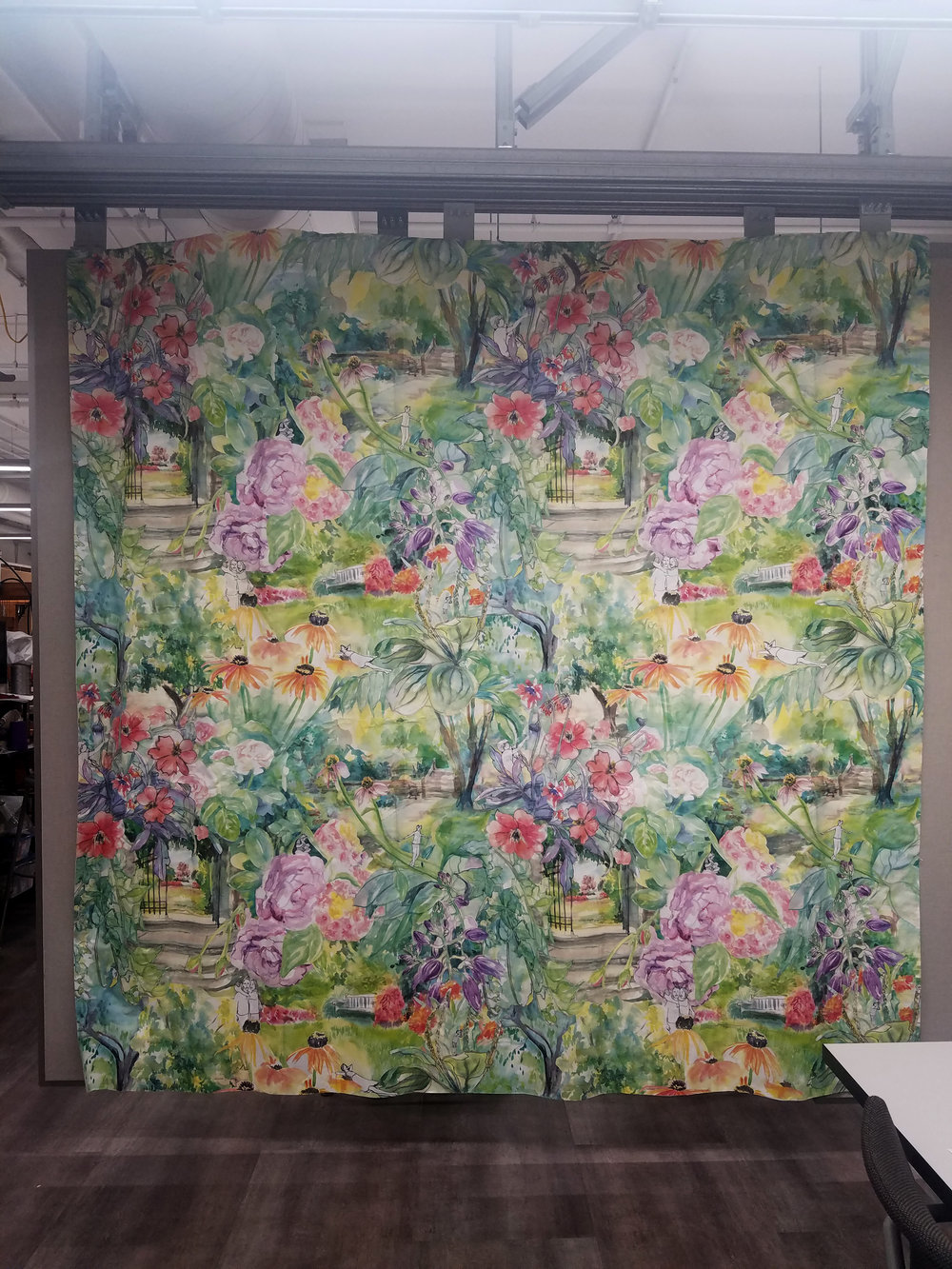 The finished 8 x 8 foot collaged square repeat pattern.