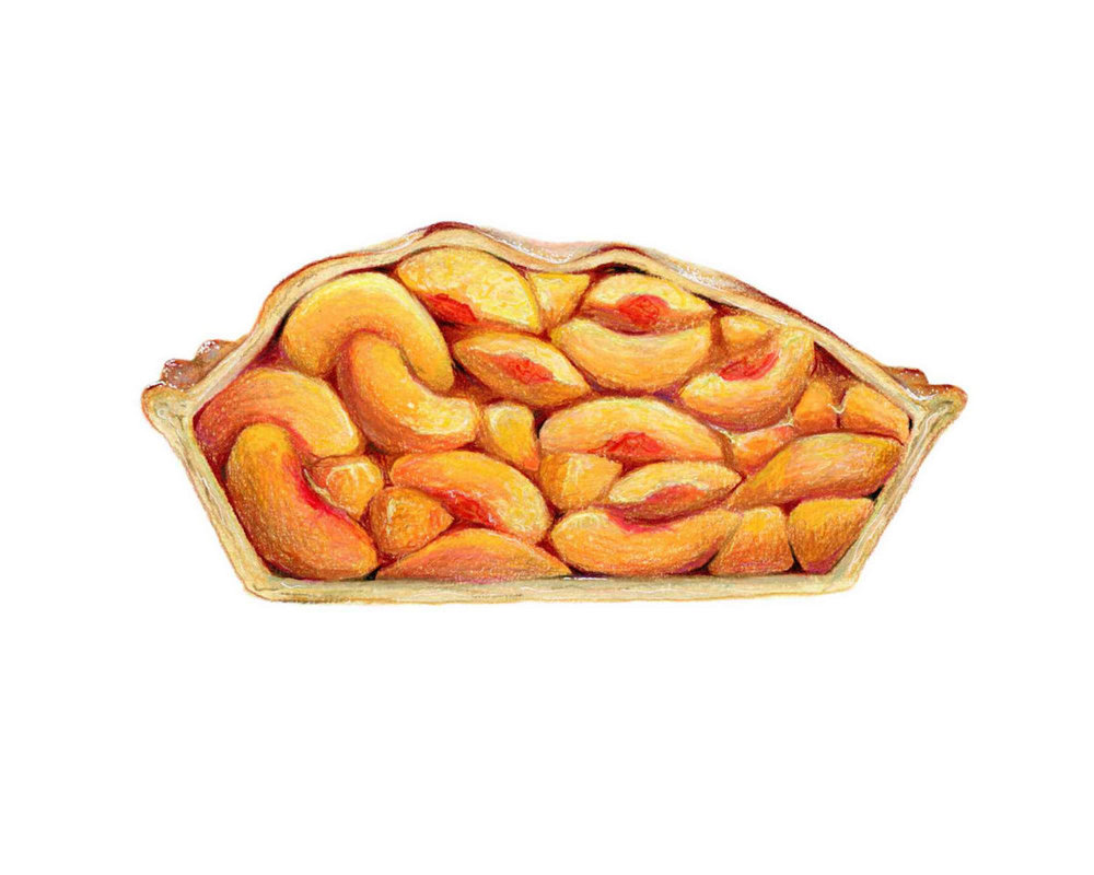 Cross Sectioned Peach Pie Illustration