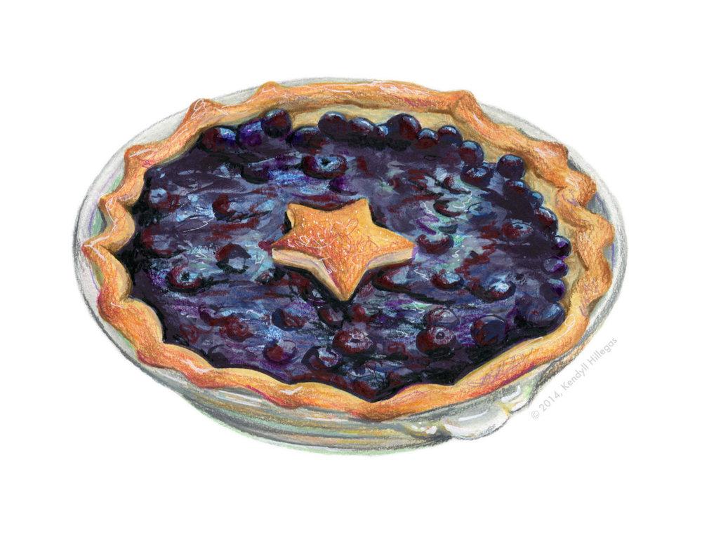 Blueberry Pie Illustration
