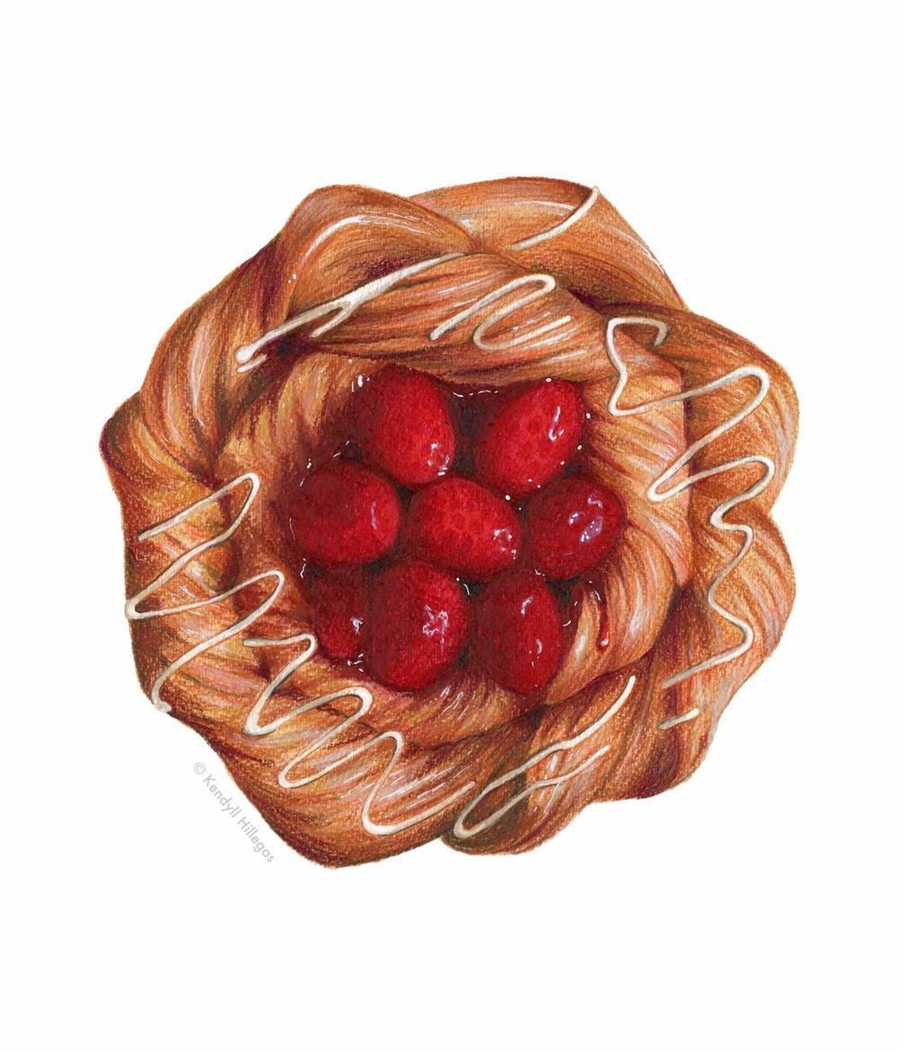 Raspberry Danish Illustration