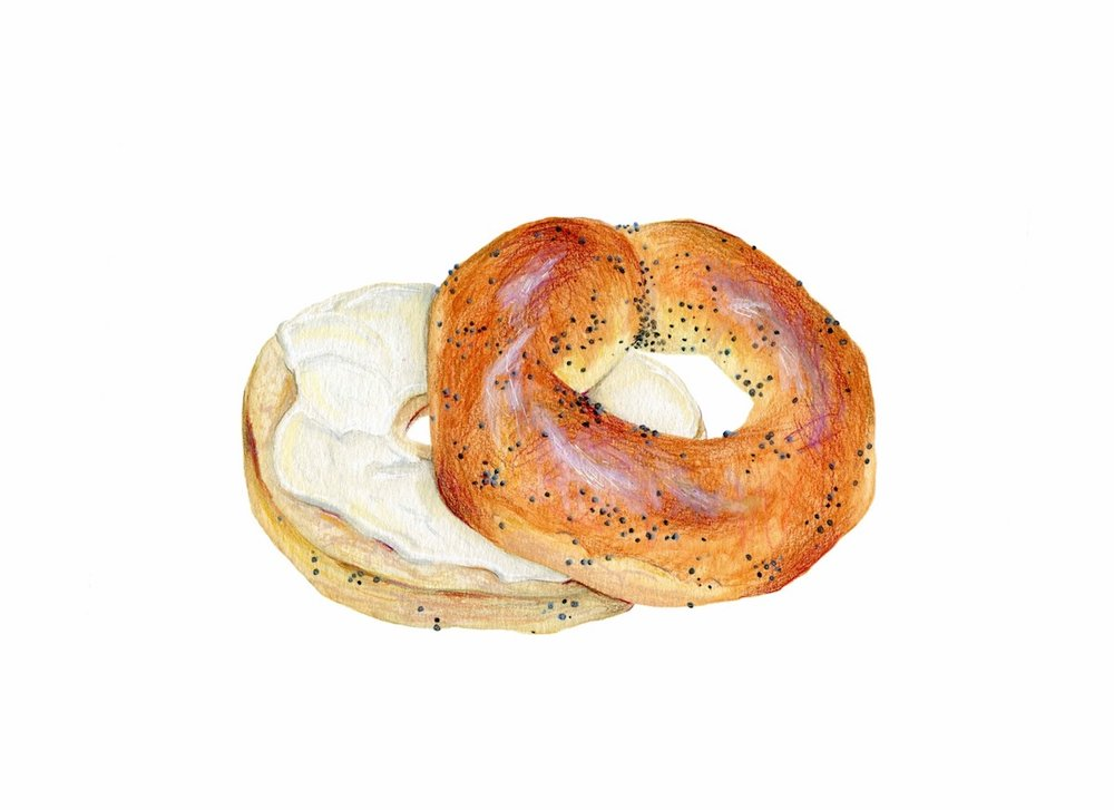 Bagel and Cream Cheese Illustration