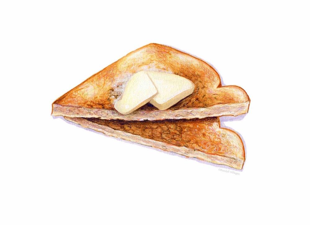 Buttered Toast Illustration