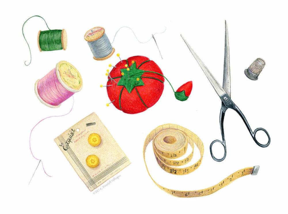 Sewing Items Illustration