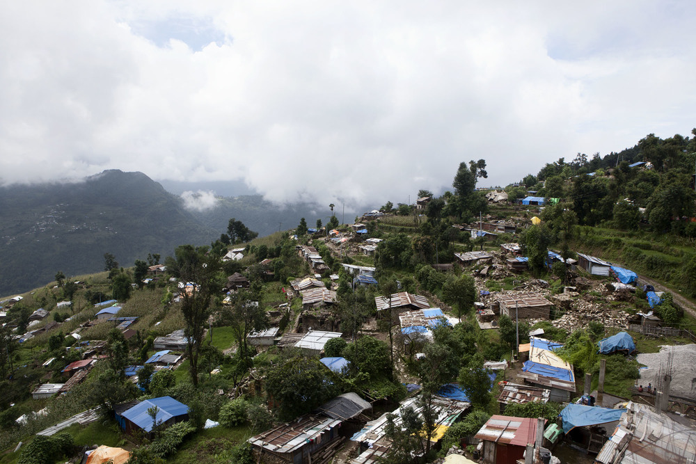 Overview Tauthali Village, Sindupalchowk District, Nepal. August 4, 2015.