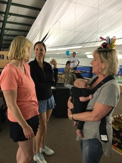 Karen Davis, Cathy Fallon and Stacey with sweet Parker Ann