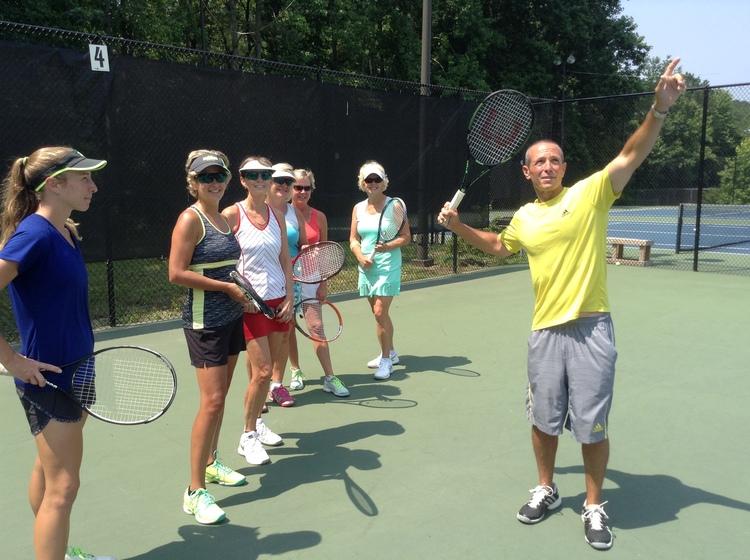 Brian Fleishman, our Director of Tennis, teaching an adult class.