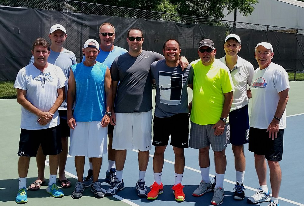 "2017 Richmond Racquet League Champions - Team Raintree Gold: Eddie Parker, Bartlo Oosthuizen, Brian Fleishman, Rev. David Dwight, Matt Berens, Ralph Agpaoa, Joe Sarver, Jim Stiff, and Hank Wood.  ""This is a solid team of players and even better men.""  Congratulations gentlemen!"