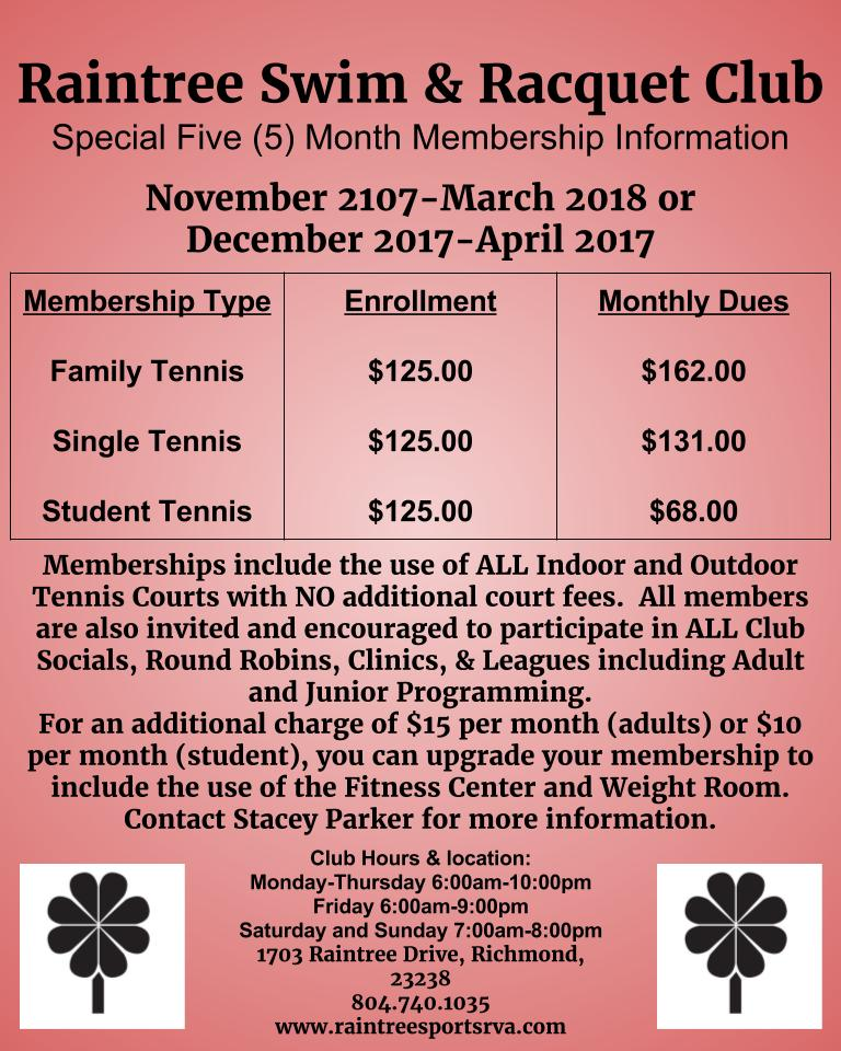 Raintree Swim & Racquet Club Special Five (5) Month Membership Information.jpg