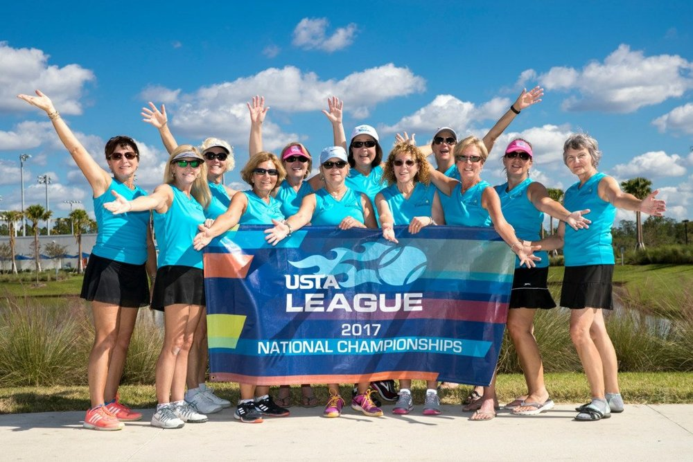 Raintree Solana at USTA MAS 55 7.0 NationalsTournament, USTA National Campus in Orlando.  What a gorgeous picture!  Pictured: Susan Evans, Kelly Smith, Mary Lou Hayden, Karen Solana,  Lorraine McGehee, Lorraine Harvey, Karen Wood, Marcia Finsterwold, Anne Sansom, Ruth Reed, Corrine Cooper,  and Laura Fuller. Not pictured: Susan Hirsch &  Sharon Camden.