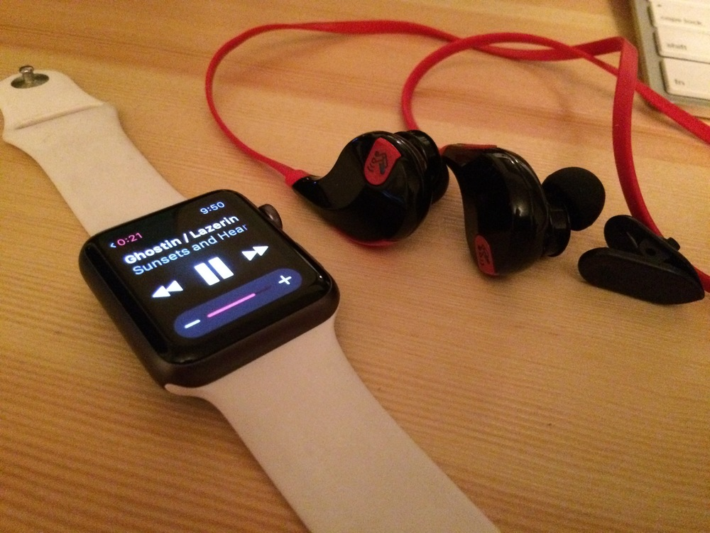 Soundpeats QY7 paired with an Apple Watch