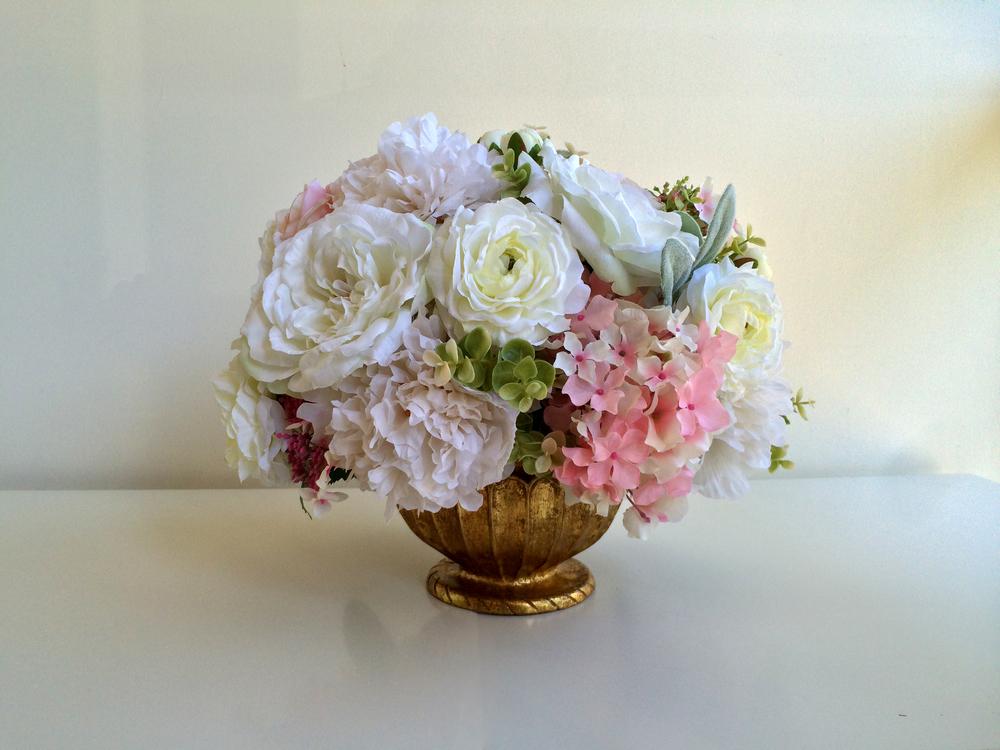 """Silk flower arrangement in gold bowl. Size: H8"""", W9"""",$195.00"""