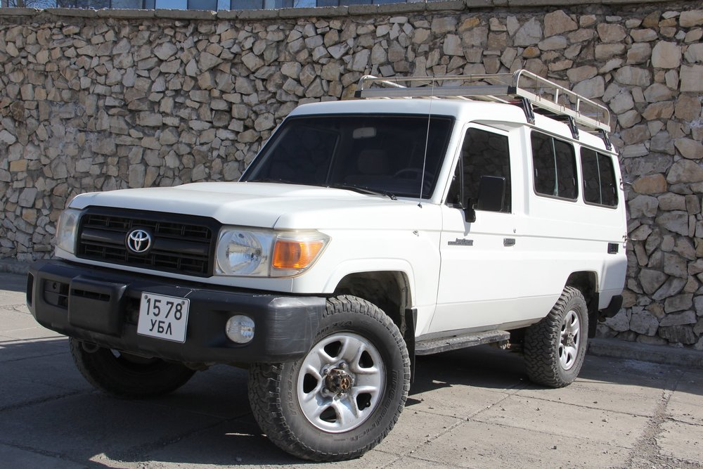 Toyota Land Cruiser 78 seriesDIESEL, MECHANIC AND TOUGH OFF ROADING CAPABILITIES - All our vehicles are equipped with ARB bumper and winches.We will provide 2 extra tires along with Tool kit with necessary spare parts, Camping kit, Cooking gears, gas stove, water container, pots and pans, forks, knives and cutlery and Road map.Roof tents are available and can be installed in every vehicle.