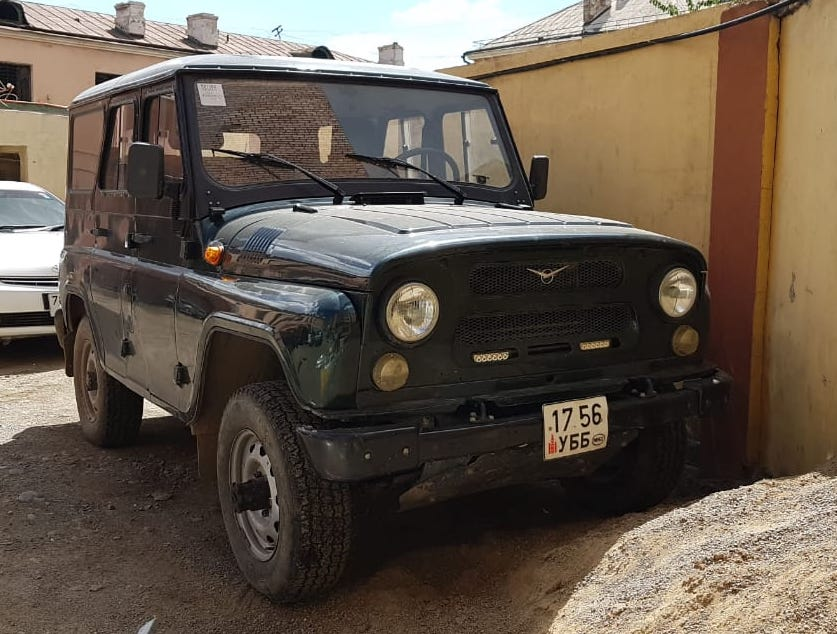 UAZ Hunter Diesel, Manual transmission, with Tough Off roading capabilities - We will provide 2 extra tires along with Tool kit with necessary spare parts, Camping kit, Cooking gears, gas stove, water container, pots and pans, forks, knives and cutlery and Road map.