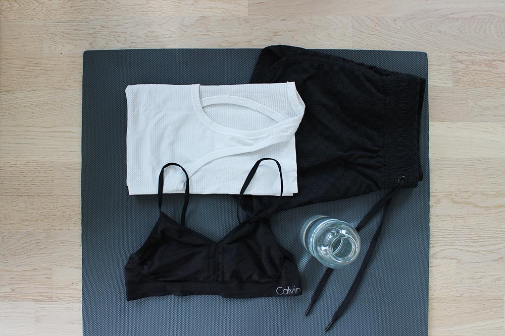 Lululemon top, H&M shorts, Calvin Klein bralette