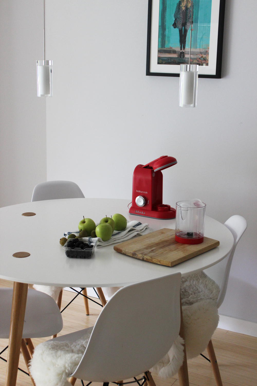 Beaba BabyCook  / IKEA table and sheepskins