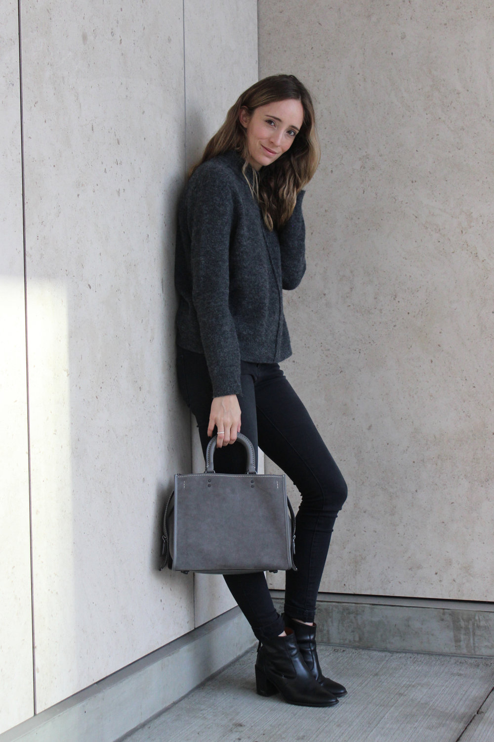 Wilfred Free pullover  /  Just USA jeans  /  Coach Rogue bag  /  Madewell boots (similar)
