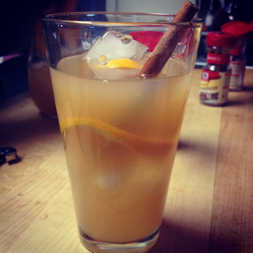 Whiskey Gobbler, complete with a cinnamon stick and orange slice. Delish!