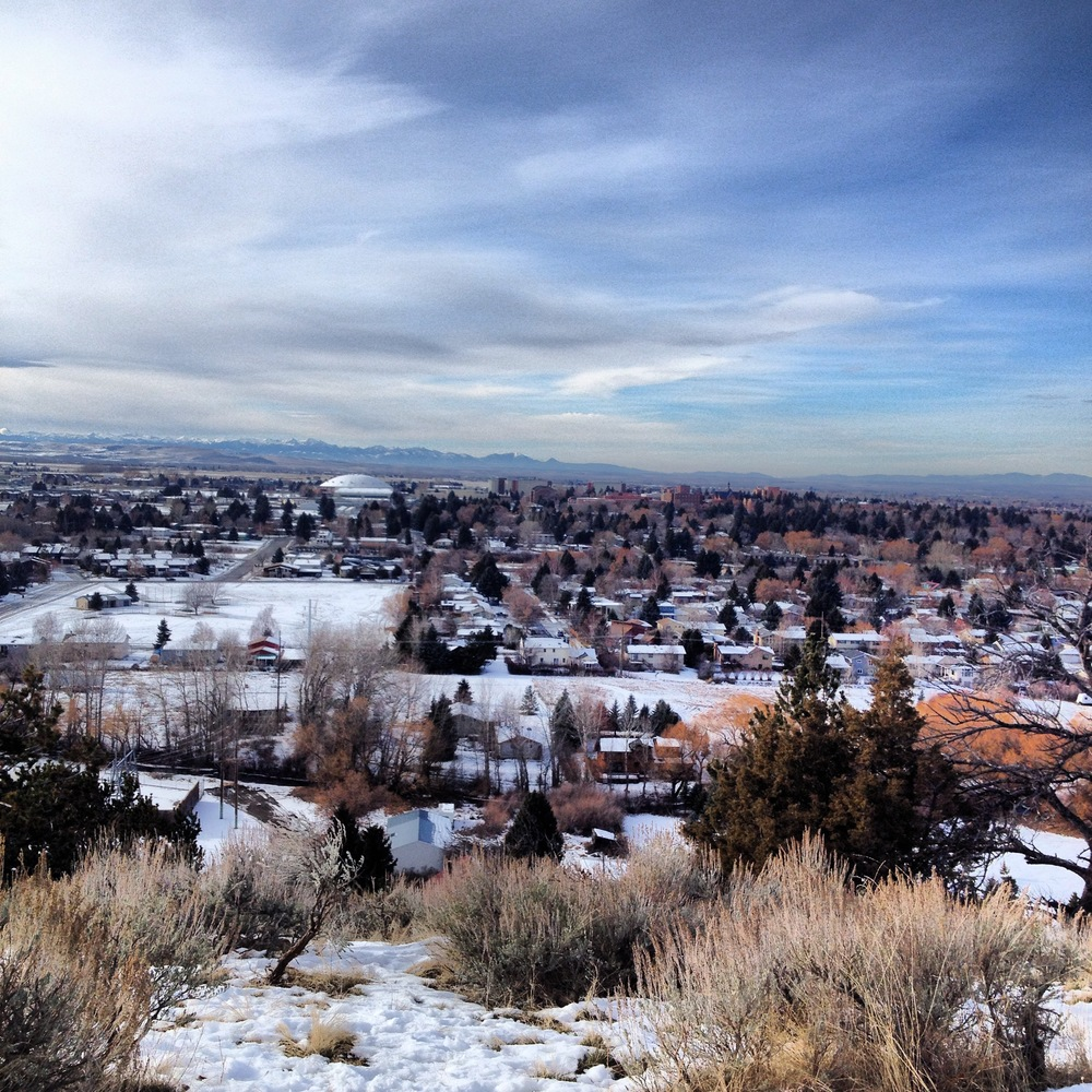View from the top of Peet's Hill, overlooking Bozeman below.