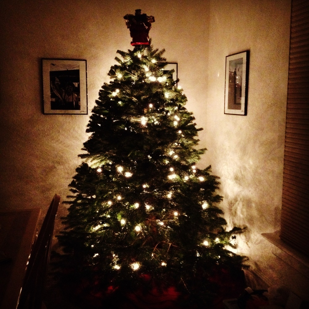 The perfect Christmas tree, later completed with all of our decorations from home!