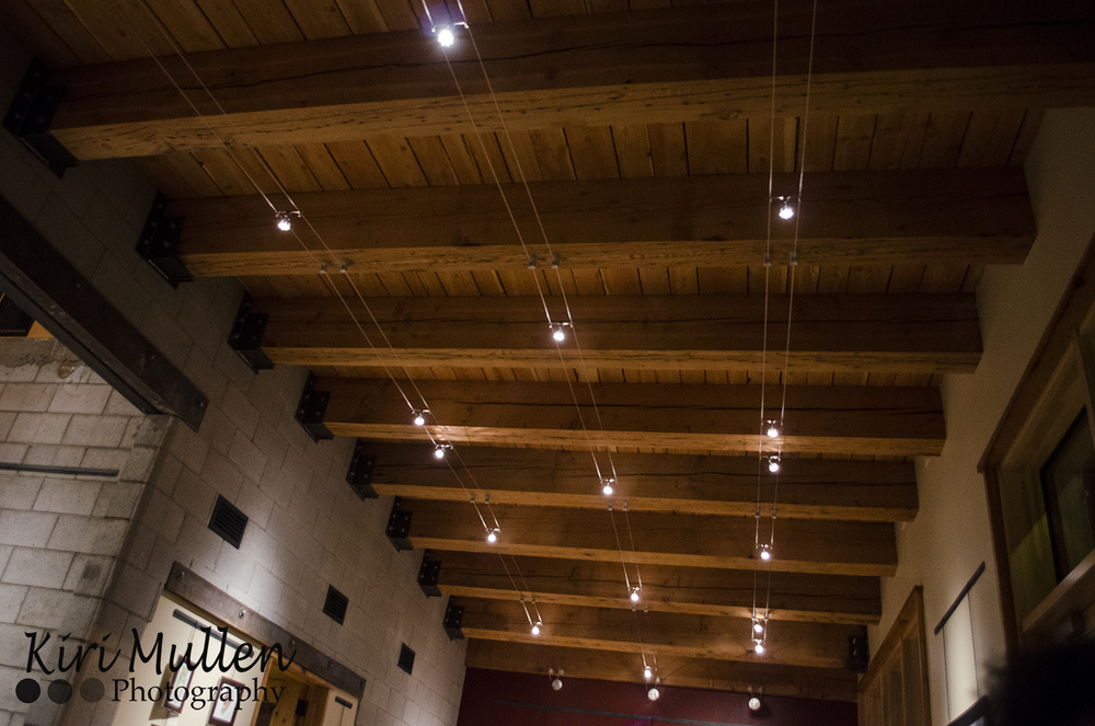 Track lighting gleaming off of the gorgeous beams!