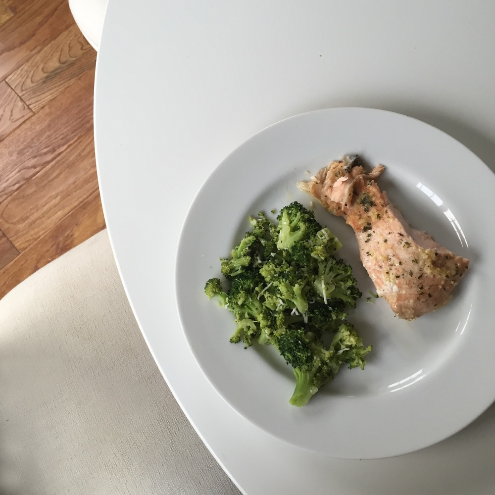 Salmon and Steamed Lemon-Parmesan Broccoli