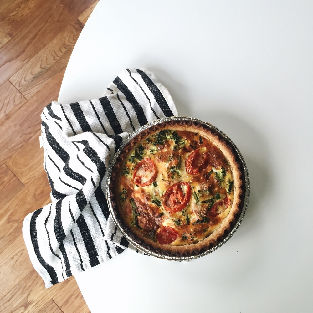 Quiche is such an easy comfort food! I whipped this one up with all the ingredients we had left in our kitchen at the end of the week.