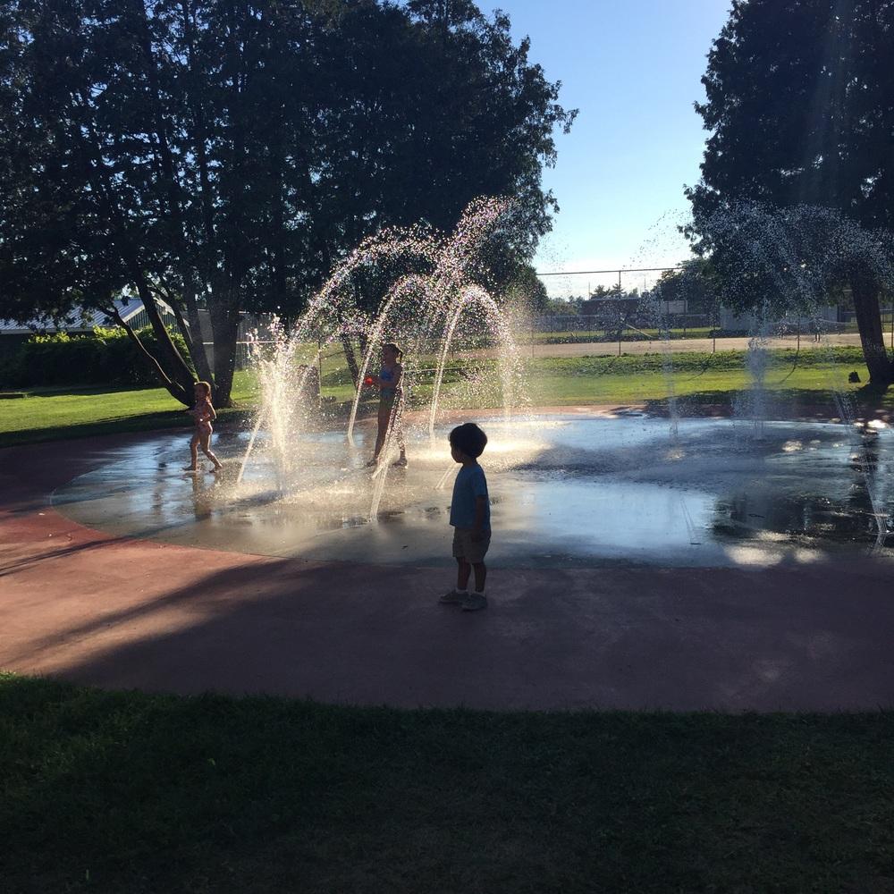 always cautious at the splash pad!