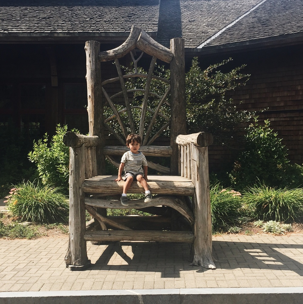 My little man in a giant Adirondack chair.