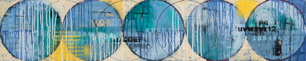 "THE BLUE LINE            ACRYLIC/MIXED MEDIA ON WOOD 12"" X 60""    SOLD"