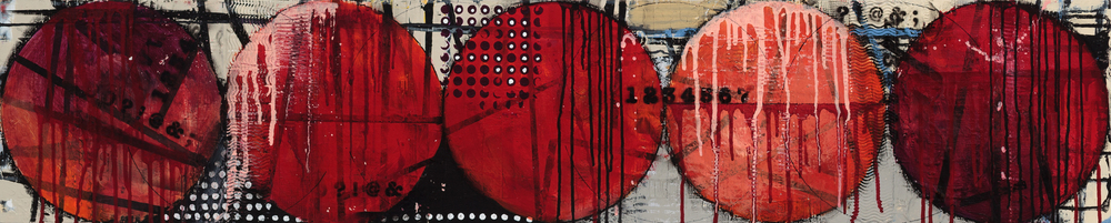 "THE RED LINE              ACRYLIC/MIXED MEDIA ON WOOD 12"" X 60"""