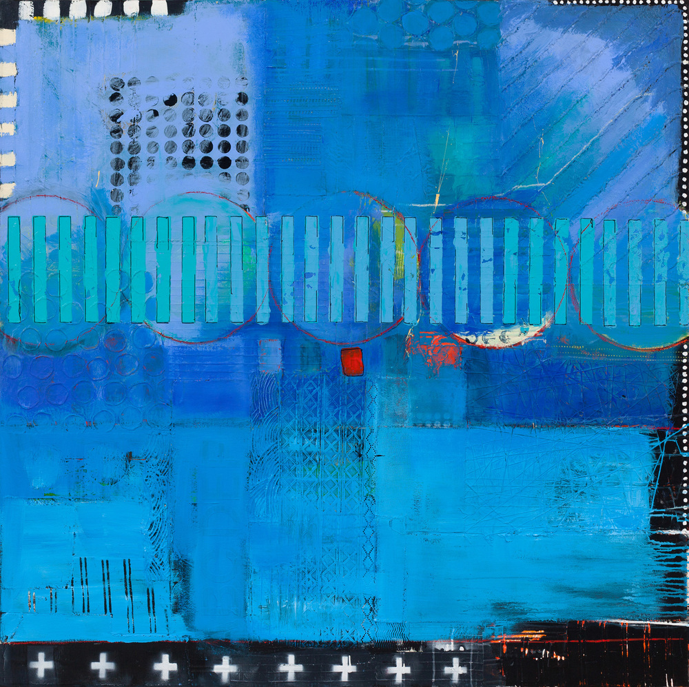 "I THINK IT'S BLUE  ACRYLIC/MIXED MEDIA ON CANVAS 55"" X 55""  SOLD"