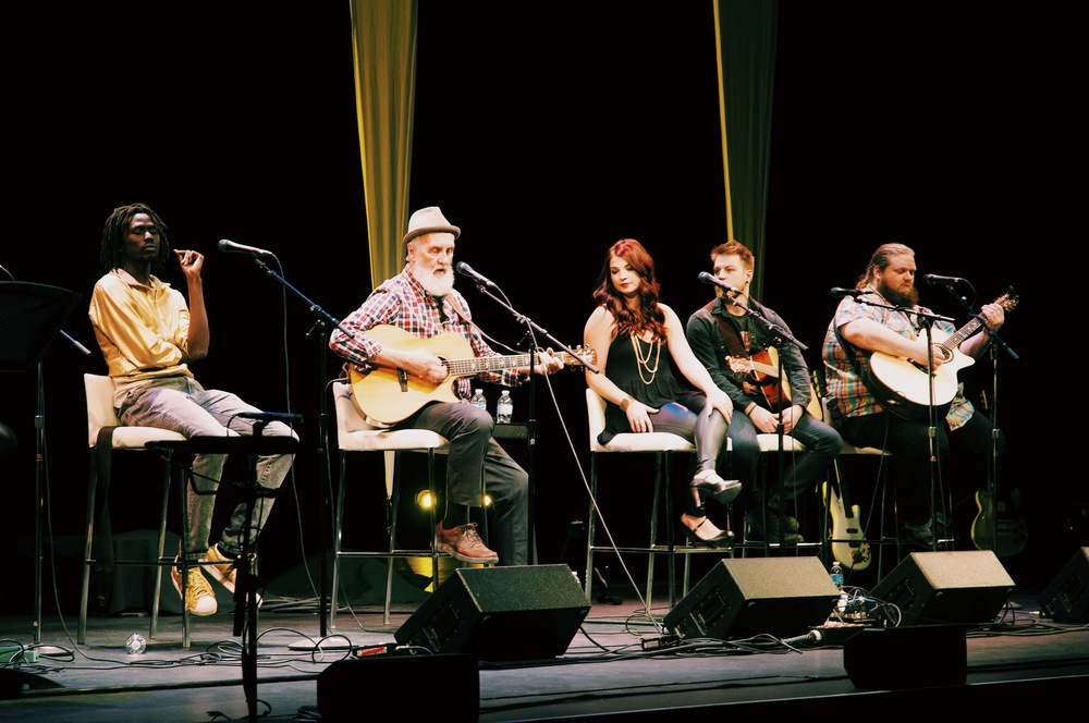 Songwriters Circle, from left: Emmanuel Jal, Fred Penner, Jess Moskaluke, and Matt Anderson