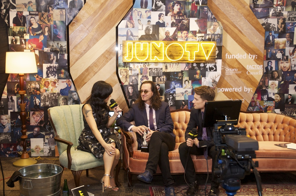 Geddy Lee of Rush being interviewed on JUNO TV